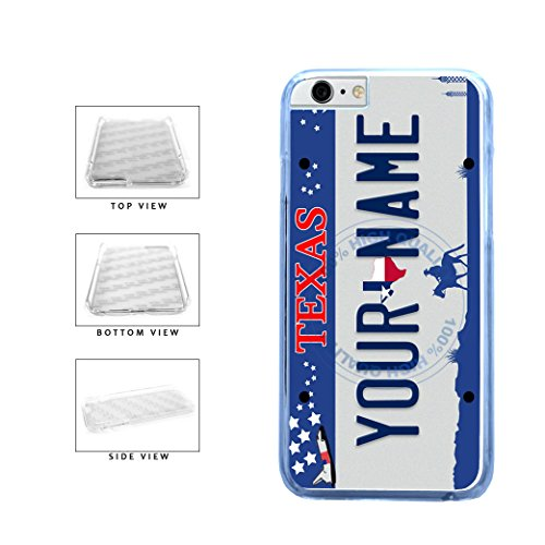 BleuReign(TM) Personalized Custom Name Texas State License Plate Clear Sides Plastic Phone Case Back Cover For Apple iPhone 6 6s (4.7 Inches Screen) (Bleu Reign Inc Iphone 6)
