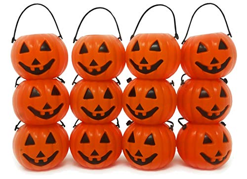 4E's Novelty Mini Pumpkin Candy Buckets Bulk, Halloween Party Decorations Pack of 48 Plastic Small Orange -