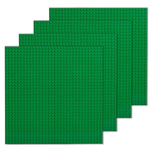 (Play Platoon Building Bricks - 10 x 10 Inch Green Classic Stackable Baseplate (4 Pack) Compatible with All Major Brands )