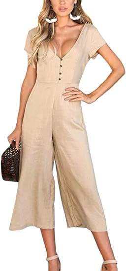 Fasumava Women Cotton Jumpsuits Summer Casual Short Sleeve Wide Leg Rompers Amazon Ca Clothing Accessories