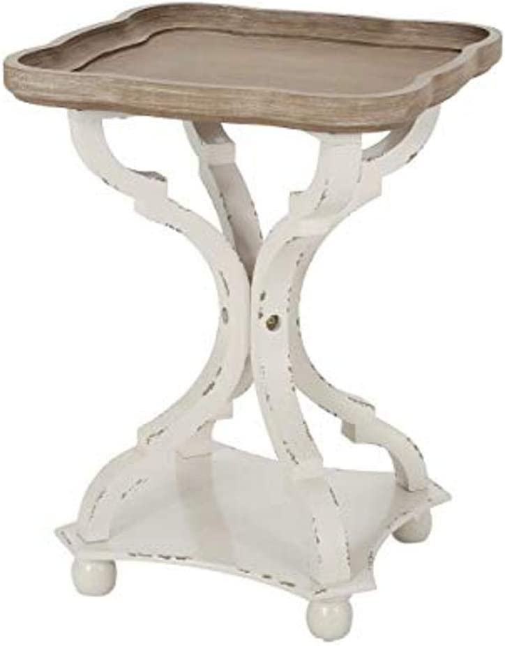 Christopher Knight Home Eudora French Country Accent Table with Square Top, Natural + Distressed White