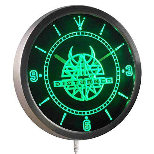 Time2LightUp Disturbed Rock n Roll Bar Pub 10 Inches Round LED Neon Wall Clock Green