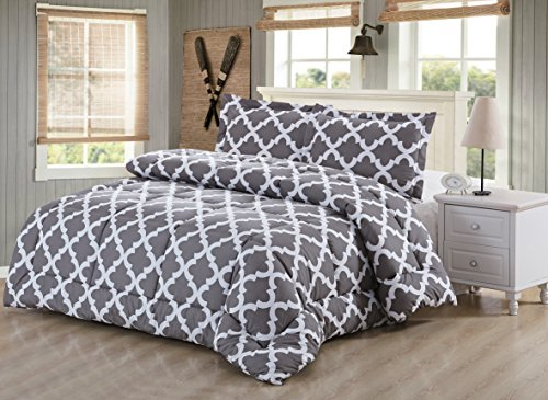 Utopia Bedding Printed Comforter Set with 2 Pillow Shams - Luxurious Soft Brushed Microfiber - Goose Down Alternative Comforter (Queen, Grey)