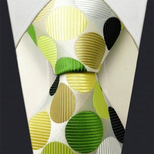 Intrepid Executive Wardrobe Accessory , Handmade 100% Silk Jacquard Woven White , Yellow , Green, and Black Colors Polka Dot 3.4 Classic Silk Jacquard Men's Necktie Tie by Intrepid - Exclusive Necktie