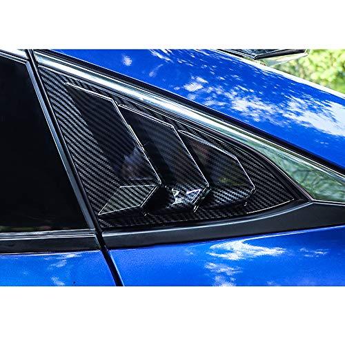 Rear Quarter Side Window Louvers Scoops Spoiler Air Vent Shades Panel for Honda 10TH Civic Sedan 2016 2017 2018 2019 ABS Stickers 3 Vents Style 2 pcs/set Carbon Fiber Color/Black