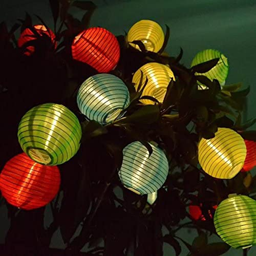 Solar LED Lanterns String Lights, ibdone 16.4Ft 5M 20 LED Waterproof Outdoor Decorative Stringed LED String Lights Lanterns for Party,Christmas,Garden,Patio,Halloween, Decoration Multi Color