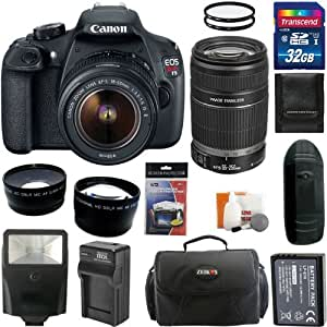 Canon EOS Rebel T5 Digital Camera SLR Kit With Canon EF-S 18-55mm IS II + Canon EF-S 55-250mm f/4.0-5.6 IS Telephoto Zoom Lens + 32GB Card and Reader + Wide angle and Telephoto Lenses + Battery + Filters + Accessory Kit