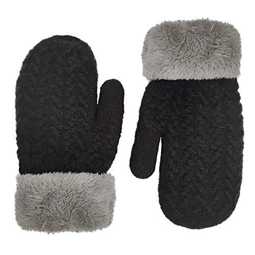 LETHMIK Kids Mittens Winter Gloves,Boys&Girls Reversible Cuff Cute Warm Thick Fleece Lined Black