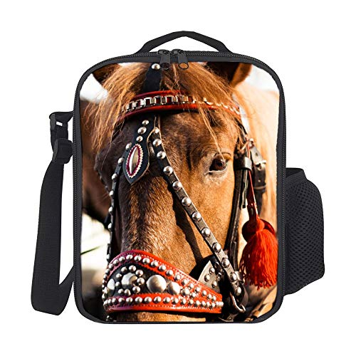 SARA NELL Kids Lunch Backpack Portrait Of Horse In Harness From Horse Drawn Carriage Lunch Box Lunch Bag Large Lunch Boxes Cooler Meal Prep Lunch Tote With Shoulder Strap For Boys Girls