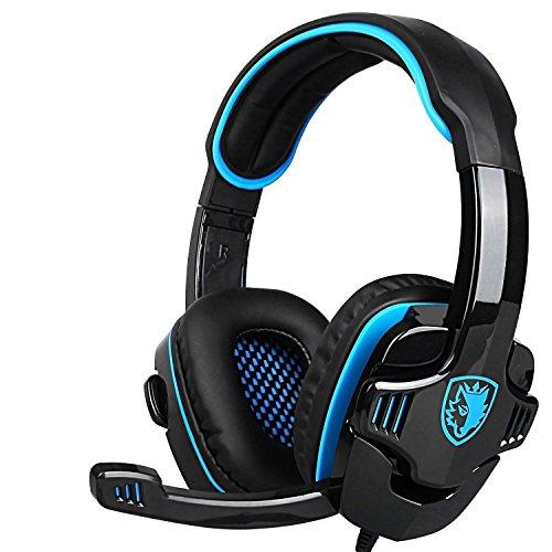 SADES SA 708 Gaming Headset 3,5-mm-Surround-Sound-Stereo-PC-Spiel-Kopfhörer-Stirnband mit Mikrofon Over-the-Ear-Lautstärkeregler für PC Gaming (blau)