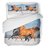 Emvency Bedsure Duvet Cover Set Closure Printed Arab Horse Eye Animal Wild Winter Action Arabian Beautiful Couple Decorative Breathable Bedding With 2 Pillow Shams Full/Queen Size