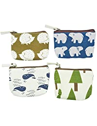 Oyachic 4 Packs Portable Coin Purse Small Change Pouch Zip Wallet Card Case Key Bag Christmas Birthday Gift
