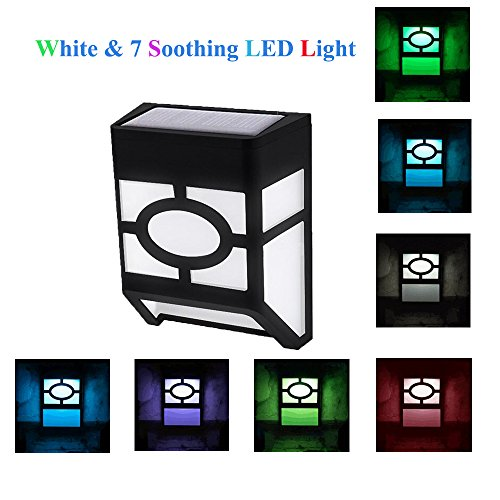 Solar Lights,Waterproof 7-Color Changing Solar Powered LED Wall Light for Outdoor Landscape Garden Yard Lawn Fence Deck Roof Lighting Decoration (4PACK) - Fence Accent Light