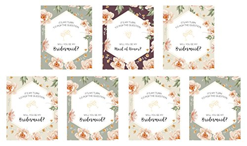 Jeune Marie Be My Bridesmaid Be My Maid of Honor Pop The Question Proposal Sticker Or Wine Label Perfect Bridal Gift (Set of 7)