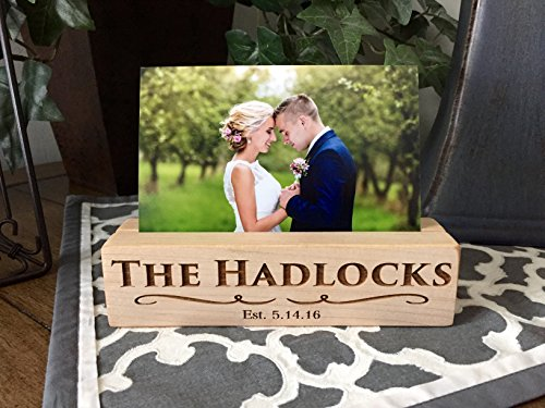 Qualtry Personalized Woodblock Photo Holder, Beautiful Wooded Picture Stands - Unique Personalized Wedding Gifts for Couples and Engagement Gifts (Hadlock Design, Maple Wood) for $<!--$29.99-->