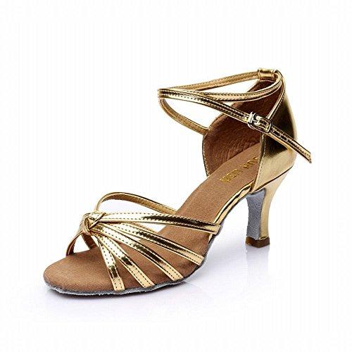 Social Blando Adultos de Alto Zapato el Tacón Zapatos de Jazz Cuero de Zapatos Sandalias Oro Baile Tobillo Baile Baile Zapatos de Modern de de Baile Latino Samba Fondo Baile Onecolor 7CM Nudo BYLE 4fnZgTx
