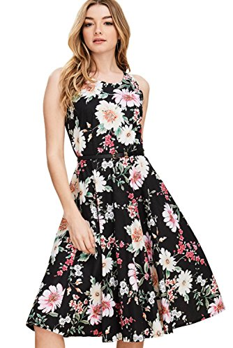 Women's Swing Dresses Print Boat Poplin Black Neck Vintage Annabelle dc3167b A Floral Line Pockets with dpzqvZ