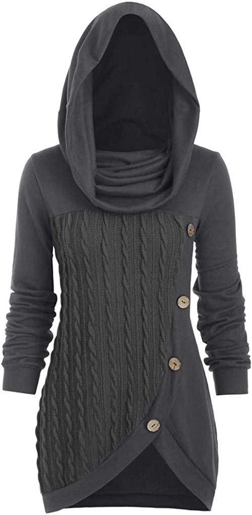 kaifongfu Women Plus Size Solid Color Button Heap Collar Irregular Hooded Knitted Sweater