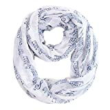 MissShorthair Women\'s Fashion Music Note Print Infinity Scarf Shawl (White)