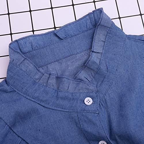 Papillon Fendue Bleu Longues Tops Noeud XL Chemise Denim Fonc S Blouse Femme Manches en X7w5WqCwSx