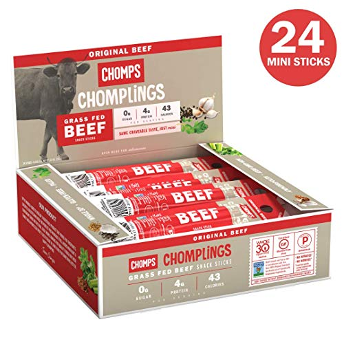 CHOMPS Mini Grass Fed Original Beef Jerky Sticks, Paleo & Keto Friendly, Whole30 Approved, Non-GMO Gluten & Sugar Free 43 Calorie Snacks, 0.5 Oz Mini Stick, Pack of 24
