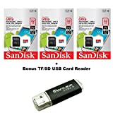 SanDisk Ultra 32GB Ultra Micro SDHC UHS-I/Class 10 Card with Adapter (3 PACK) (SDSQUAR-032G-GN6MA) + BONUS SD/TF USB CARD READER