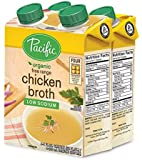 Pacific Foods Organic Free Range Low-Sodium Chicken Broth, 8-Ounce Cartons, 24-Pack