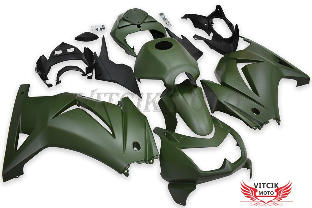 Green A057 VITCIK Plastic ABS Injection Mold Complete Motorcycle Body Aftermarket Bodywork Frame Fairing Kits Fit for Kawasaki EX250R Ninja 250 EX-250R ZX250 2008 2009 2010 2011 2012