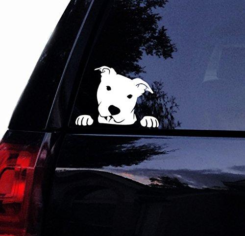 Tshirt Rocket Pitbull Decal - Peeking Peek a Boo Pit Face - Pit Bull Dog Car Decal, Laptop Decal, Car Window Sticker (6