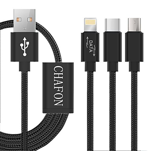 Multi USB Cable,Chafon 3 in 1 USB Charging Cable 3.3 Feet(1M) with 8 Pin Lightning,USB C,Micro Charger for Android&iPhone Smartphones,iPad Tablets-Nylon Braid(Black)