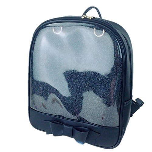 Smilecoco Girl's Candy Leather Bow Backpack Plastic Transparent Beach School Bag, Black