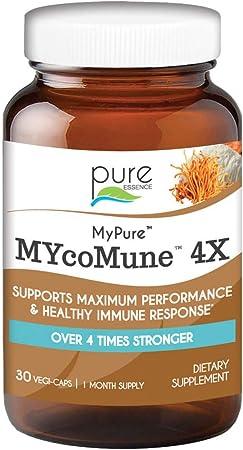 MYcoMune 4X Organic Mushroom Supplement - Reishi, Lion's Mane, Cordyceps, Chaga, Shiitake, Maitake for Immune System, Combat Stress, Build Energy by Pure Essence - 30 Caps