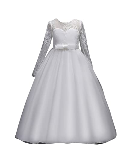 a559e23b10bfb Enfant Fille Robe de Cérémonie Soirée Manches Longues Lace Tulle Demoiselle  d honneur Robes Princesse