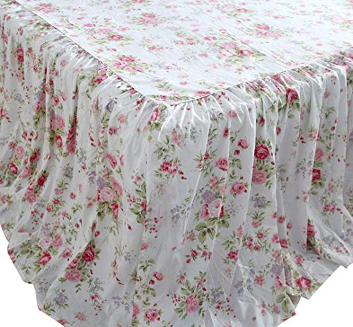 (Queen's House Shabby Roses Floral Printed Bed Coverlets Dust Ruffles Bed Skirts Bedspreads-Queen,30'' Drop)