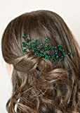 FXmimior Bridal Women Green Vintage Wedding Party Crystal Rhinestone Vintage Hair Comb Hair Accessories