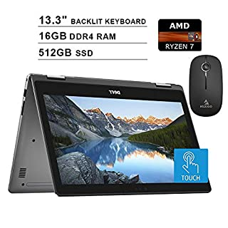 2020 Newest Dell Inspiron 13 7000 13.3 Inch Touchscreen FHD 1080p 2-in-1 Laptop (AMD 4-Cores Ryzen 7 up to 3.8 GHz, 16GB RAM, 512GB SSD, Backlit KB, Windows 10) + NexiGo Wireless Mouse Bundle