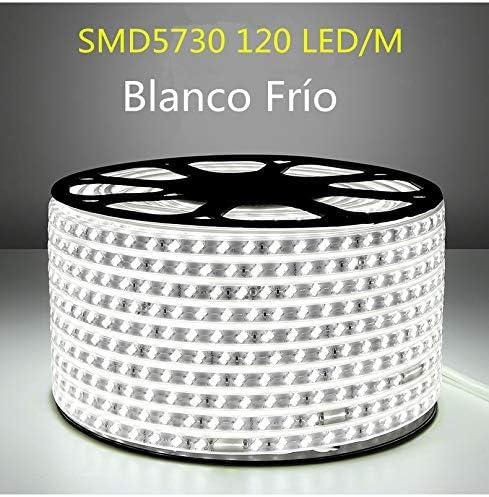 1 Metro Tiras LED Smd5730 220v 120 Led//m Doble Chips 3000k luz Calida Impermeable IP65 Con Enchufe