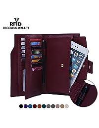 Befen Women's RFID Blocking Leather Clutch Wallet Multi Card Organizer Holder - Burgundy