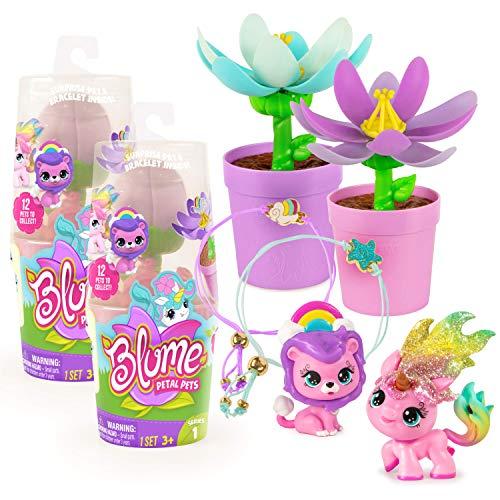 Blume Petal Pets 2-Pack, UNbox A Surprise Collectible Pet & Charm Bracelet! (Series 1)