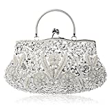 KNUS Beaded Sequin Design Evening Bag Wedding Party Handbag Large Clutch Purse (Silver)