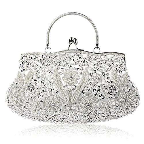 KNUS Beaded Sequin Design Evening Bag Wedding Party Handbag Large Clutch Purse (Silver) by KNUS