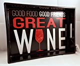 "Wine Theme Beverage Serving Tray ""Good Food Good Friends Great Wine"" 13.5"" x 9.5"" x 2"""