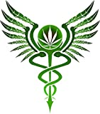 weed window decals - Pot Leaf Caduceus Medical Marijuana Car Window Decal 4:20 Weed Sticker Herb Smoke