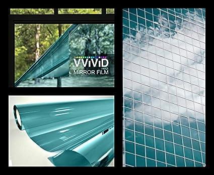 VViViD One-Way Blue Mirror Finish Vinyl Window Wrap Film Self-Adhesive DIY Roll 1ft x 5ft onewaymirrorbluesm1