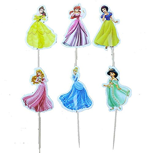 Disney Princess, Snow White, Belle, Cinderella, Ariel Cupcake Toppers Picks (Set of 24)