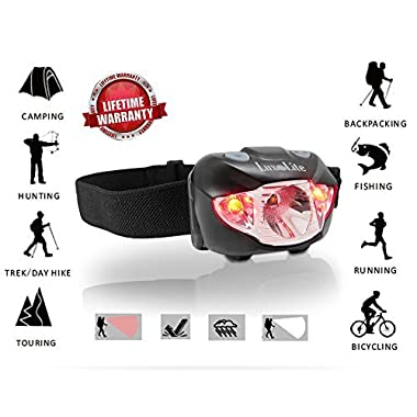 Bright LED Headlamp Flashlight with Red Light – Best Adjustable Headlight for Running, Camping, Hiking, Fishing, Hunting, Reading, Kids –Waterproof CREE Work Headlamps, Batteries Included