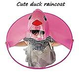 XILALU Kids UFO Raincoat, Windproof & Waterproof Foldable Cute Transparent Cartoon Duck Hands Free Umbrella Hat Funny Rain Coat-Scratch Resist (Hot Pink, Child S)