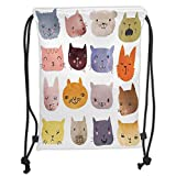 Drawstring Backpacks Bags,Cat,Cute Watercolor Effect Cat Heads in Colorful Humor Fun Purring Meow Animal Kids Artsy Print,Multi Soft Satin,5 Liter Capacity,Adjustable String Closur