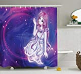 Ambesonne Anime Shower Curtain, Purple Anime Fairy Sitting in Theme of Zodiac Astrology Horoscope Sign Artprint, Cloth Fabric Bathroom Decor Set with Hooks, 70' Long, Purple Blue