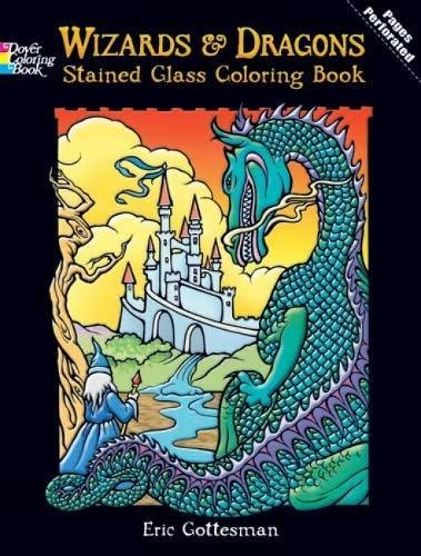 DOVER PUBLICATIONS Stained Glass Color Book Wizards And Dragons (427706)]()